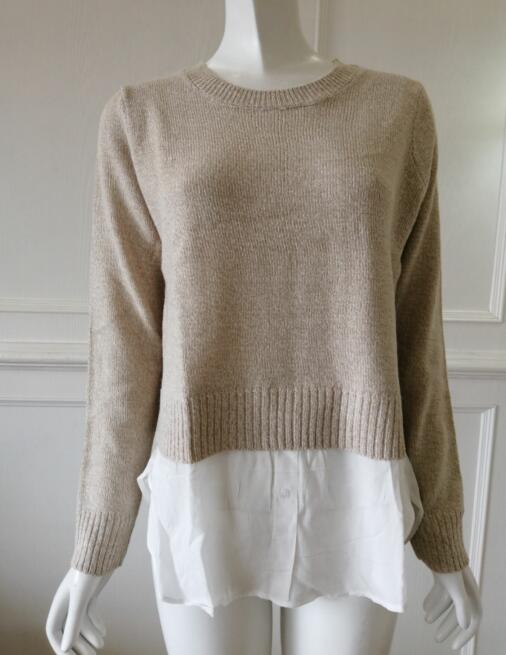 Womens knitted pullover with lace