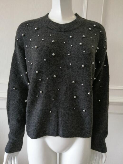 China Sweater Factory Womens knitted pullover Embroidered beads