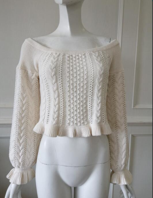 Womens knitted pullover Hollow shoulders Lotus leaf