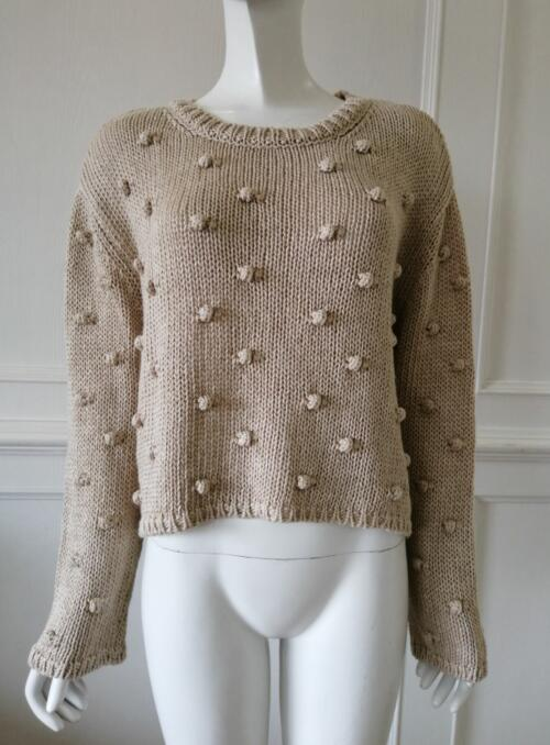 Womens knitted pullover Ball decoration