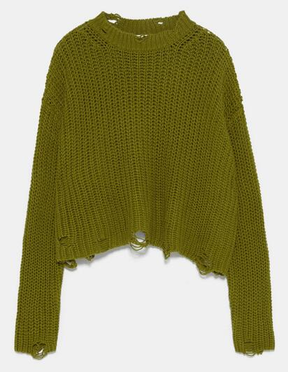 Womens knitted pullover Hole decoration