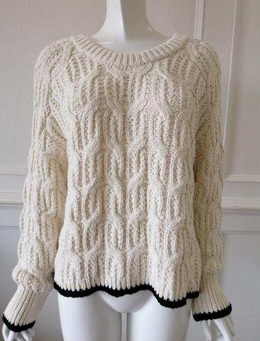 Womens knitted pullover CONTRAST COLOR