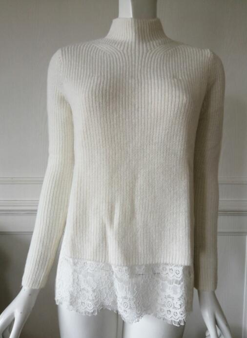 Womens knitted pullover splicing