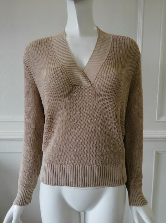 Womens knitted pullover V collar and Mesh