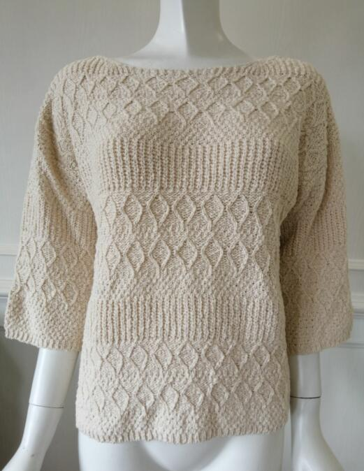 Womens knitted pullover V collar dropped shoulder