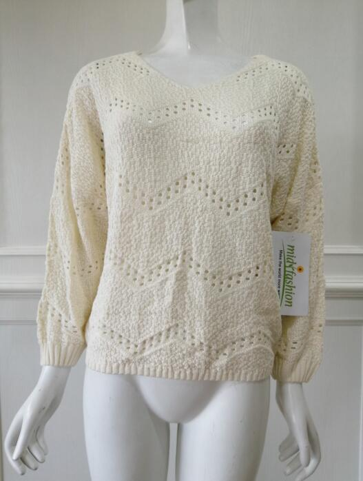 Womens knitted pullover V collar long sleeves