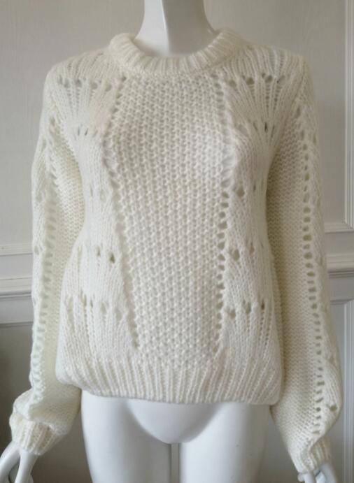 Womens knitted pullover low gauge sweater autumn