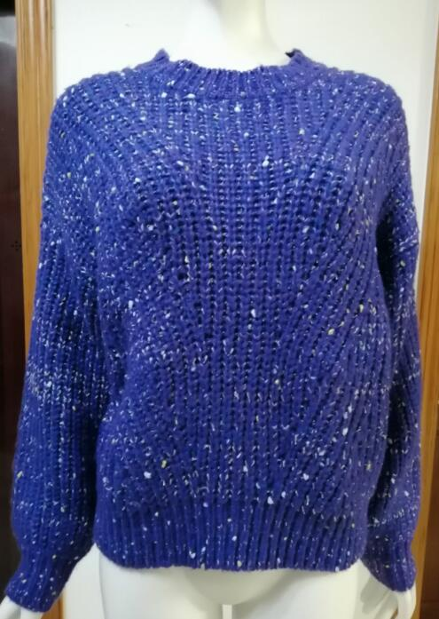 Womens knitted pullover low gauge sweater Bright