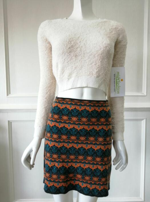 Women's knitted sweater skirt knitwear china