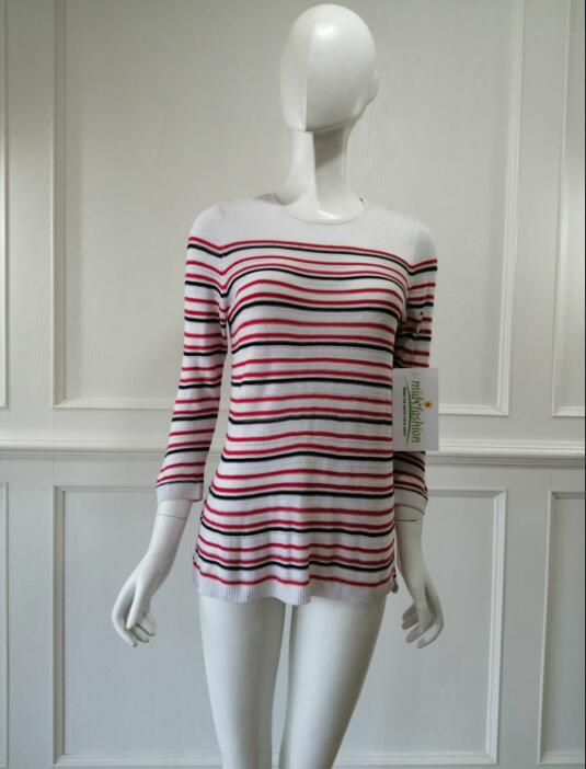 Women's knitted sweater knitwear stripe pullover china