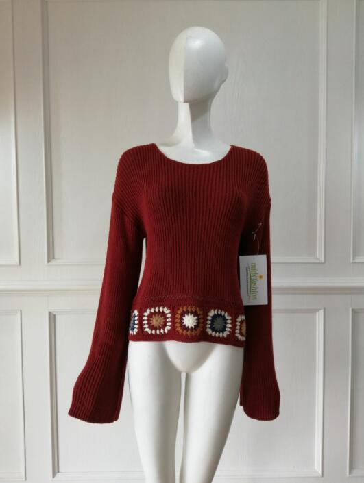 Women's knitted sweater hand crochet dress knitwear china