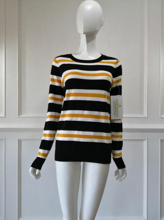 Women's knitted sweater stripes pullover knitwear china