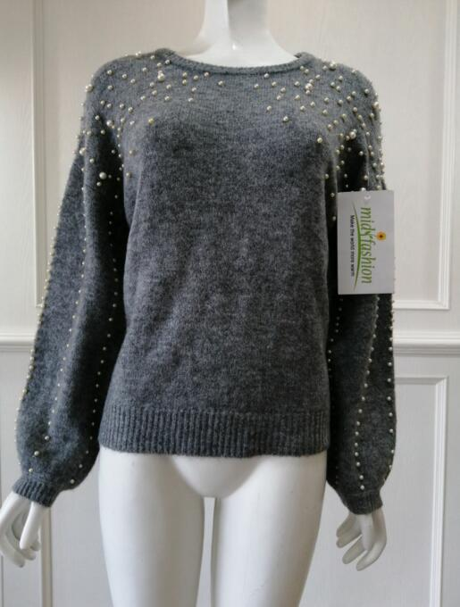 Women's knitted sweater  Embroidered beads pullover china