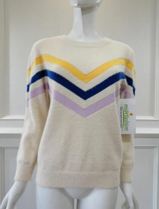 Women's knitted sweater intarsia pullover china