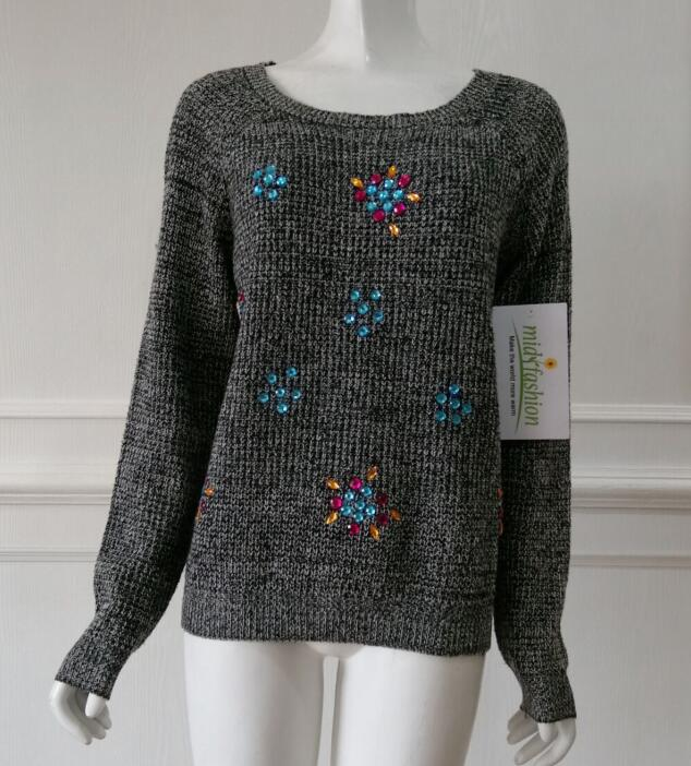 Knit Rhinestone Sweater china Women's knitted pullover