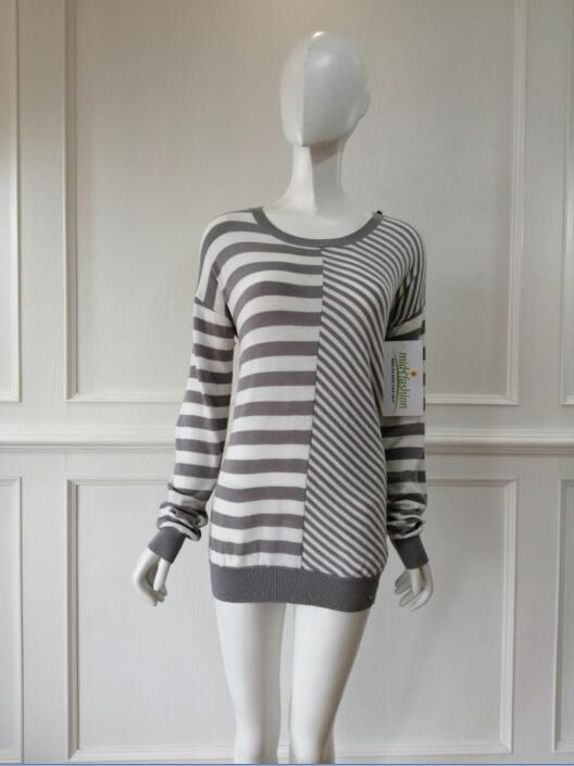 Knit fashion stripes pullover Women's knitted china