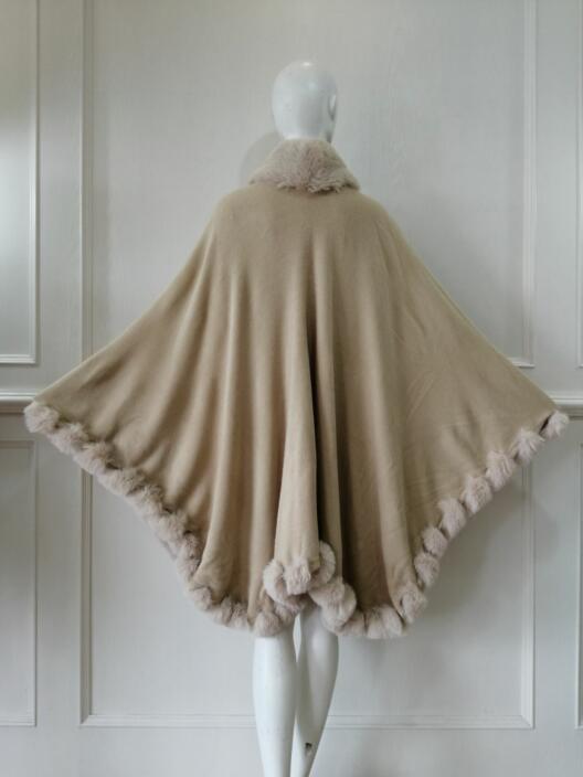 Knitted Poncho China Womens Sweater knit with wool collar