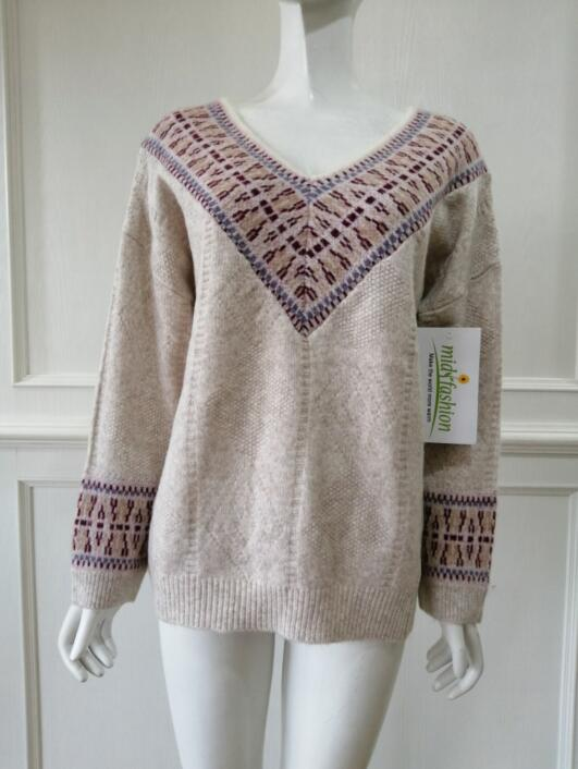 Knitted jacquard pullover China Womens Sweater knit midifashion