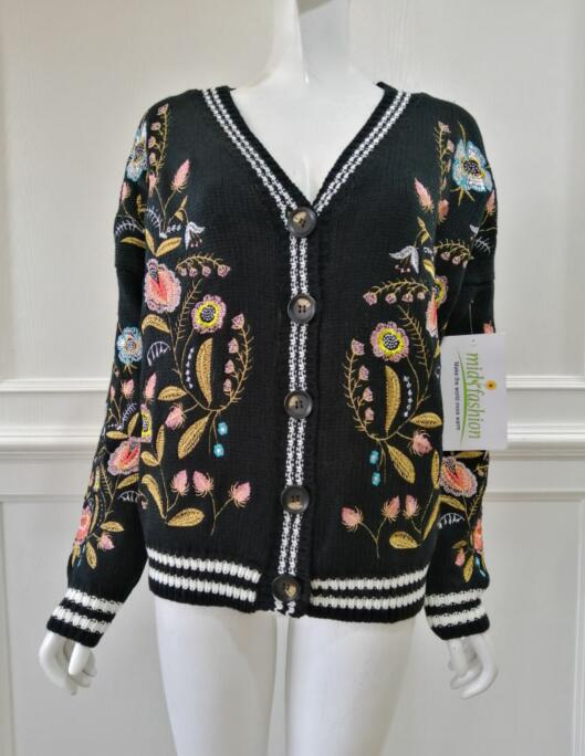 China Womens Knitted embroidery cardigan coat