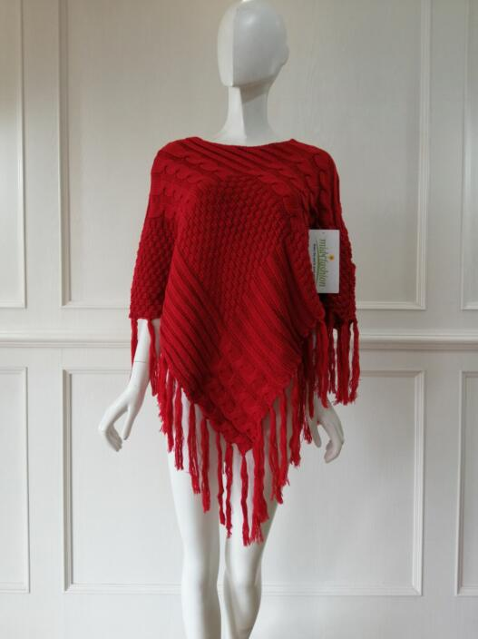 China Womens Knitted poncho pullover sweater